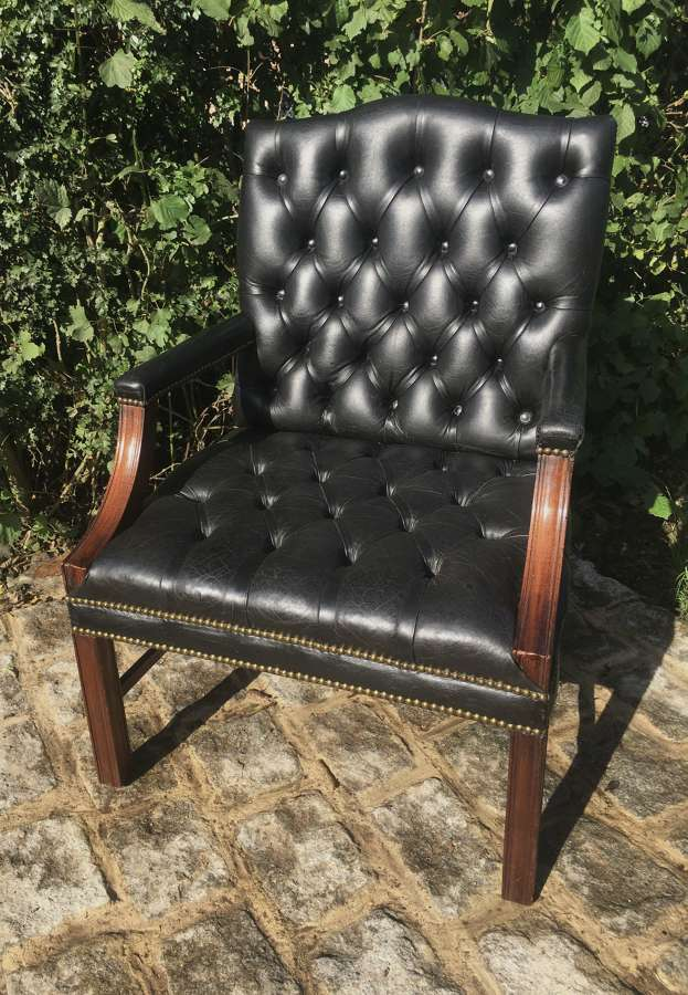 MAHOGANY AND LEATHER GAINSBOROUGH LIBRARY DESK CHAIR