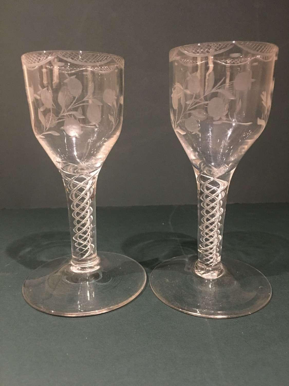 PAIR OF 18TH CENTURY TRIPLE STEM WINE GLASS