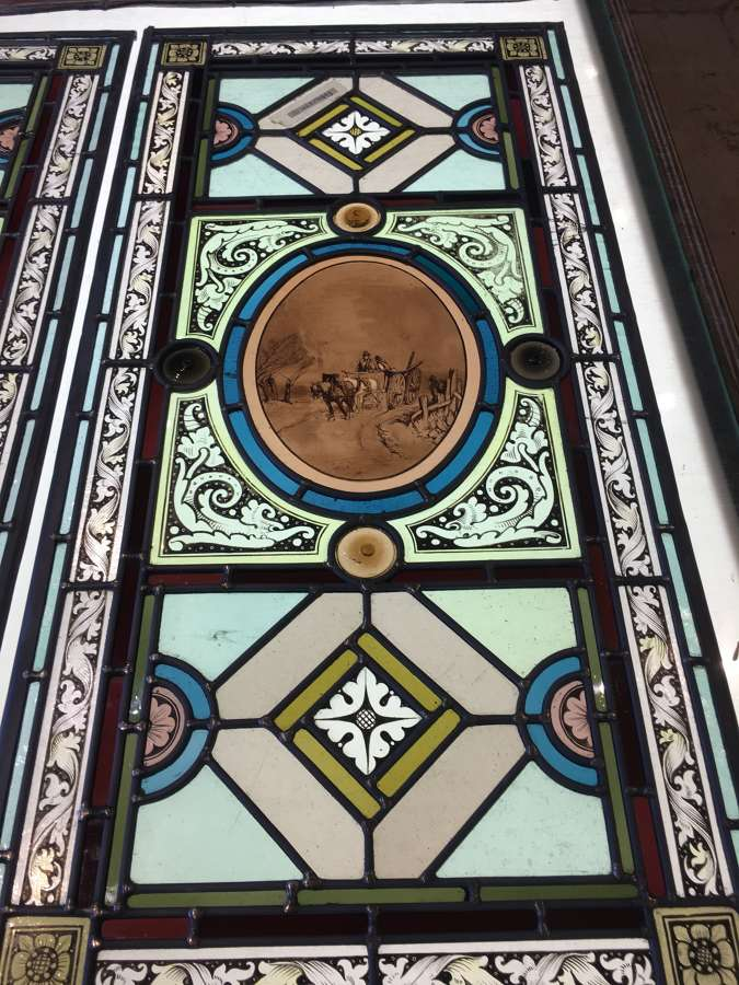 PAIR OF VICTORIAN STAINED GLASS PANELS