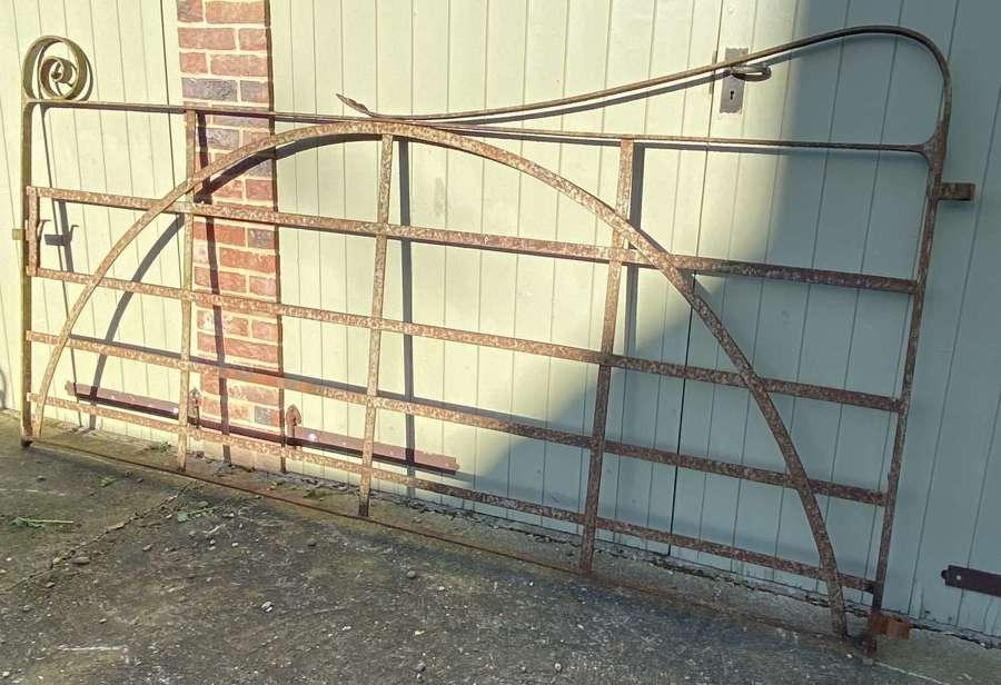 19TH CENTURY ANTIQUE STRAP WORK WROUGHT IRON ESTATE GATE.